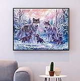 Set de bordado tapiz'Animal lobo' 40x50cm set de bordado en punto de cruz.Incluye hilo de algodón multicapa cod.130