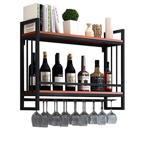 Alqn Weinregale Wandmontage Holz Metall | Hängender Weinglashalter | Weinregal mit Glashalter | Abgehängter Weinflaschenhalter | Weinregal Holzlagereinheit,60 cm × 20 cm