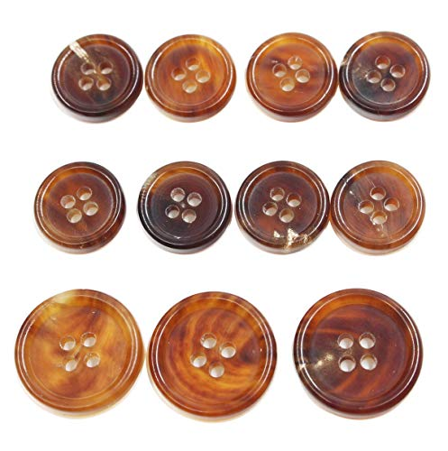 YUOCU 11 Pieces Genuine Natural Horn Blazer & Suits Button Set- 3 Buttons Measuring 20mm (13/16 Inch) & 8 Buttons 15mm (5/8 Inch) for Blazer,Sport Coat,Uniform,Jacket,Sleeves and Pants (Light Brown)