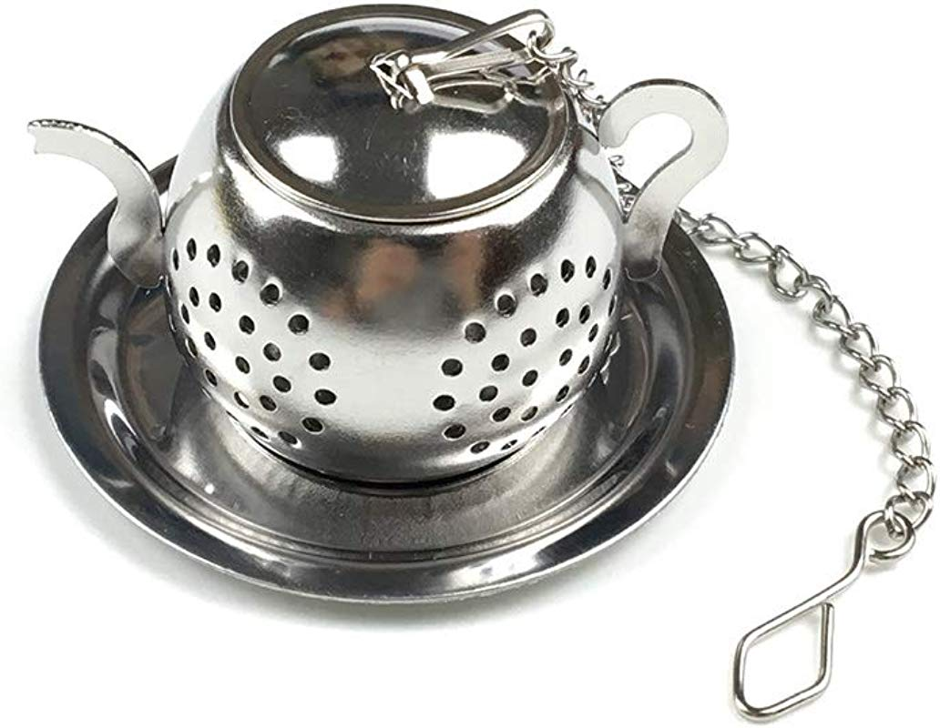 Stainless Steel Teapot Tea Infuser Strainer W Tray