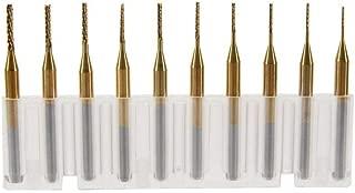 SHINA 10 Titanium Coat Carbide 0.6mm-1.5mm End Mill Engraving Bits CNC Rotary Burrs Set (ST0.6-1.5mm-10Ti)