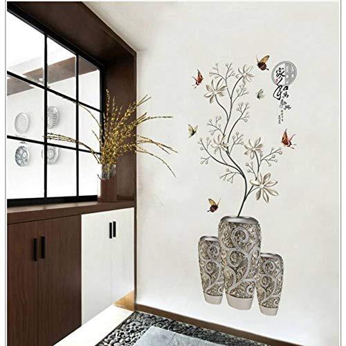 GUDOJK Muursticker Moderne Stijl Muursticker Zilver Wit Bloem Vaas Vlinder Decor Applique slaapkamer Eetkamer Entree Decoratie Diy