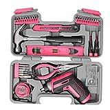 Destornillador eléctrico Home Kit de Herramientas USB Recargables Rosado de la Mano pedacitos de la Herramienta Alicates Martillo de reparación del hogar 35PCS, Herramientas eléctricas