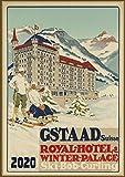 "Wall Calendar 2020 [12 pages 8""x11""] European Ski Alpine Resort Vintage Travel Poster Sport Ads"