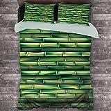Bamboo Hotel Luxury Bed Linen Imagen de bambú Horizontal Árbol Stems Zen Style Imagen de poliéster inspirado en la naturaleza, suave y transpirable (completo), verde