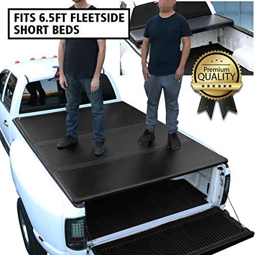 DNA Motoring TTC-HARD-019 Truck Bed Top Hard Solid Tri-Fold Tonneau Cover For 09-18 1500 6.5Ft Fleetside Short Bed