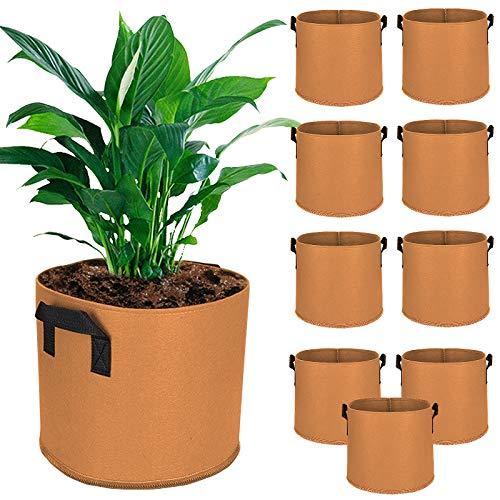Bolsas de Cultivo Saco para Plantas 10Pcs 3 Galones Contenedor de Macetas de Tela no Tejida Bolsa de Siembra para Flores Vegetales Patata Zanahoria Tomate Growing Bag