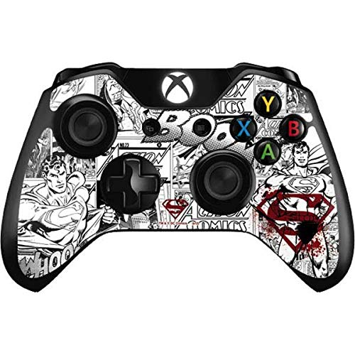 Skinit Decal Gaming Skin Compatible with Xbox One Controller - Officially Licensed Warner Bros Superman Comic Logo in Red Design