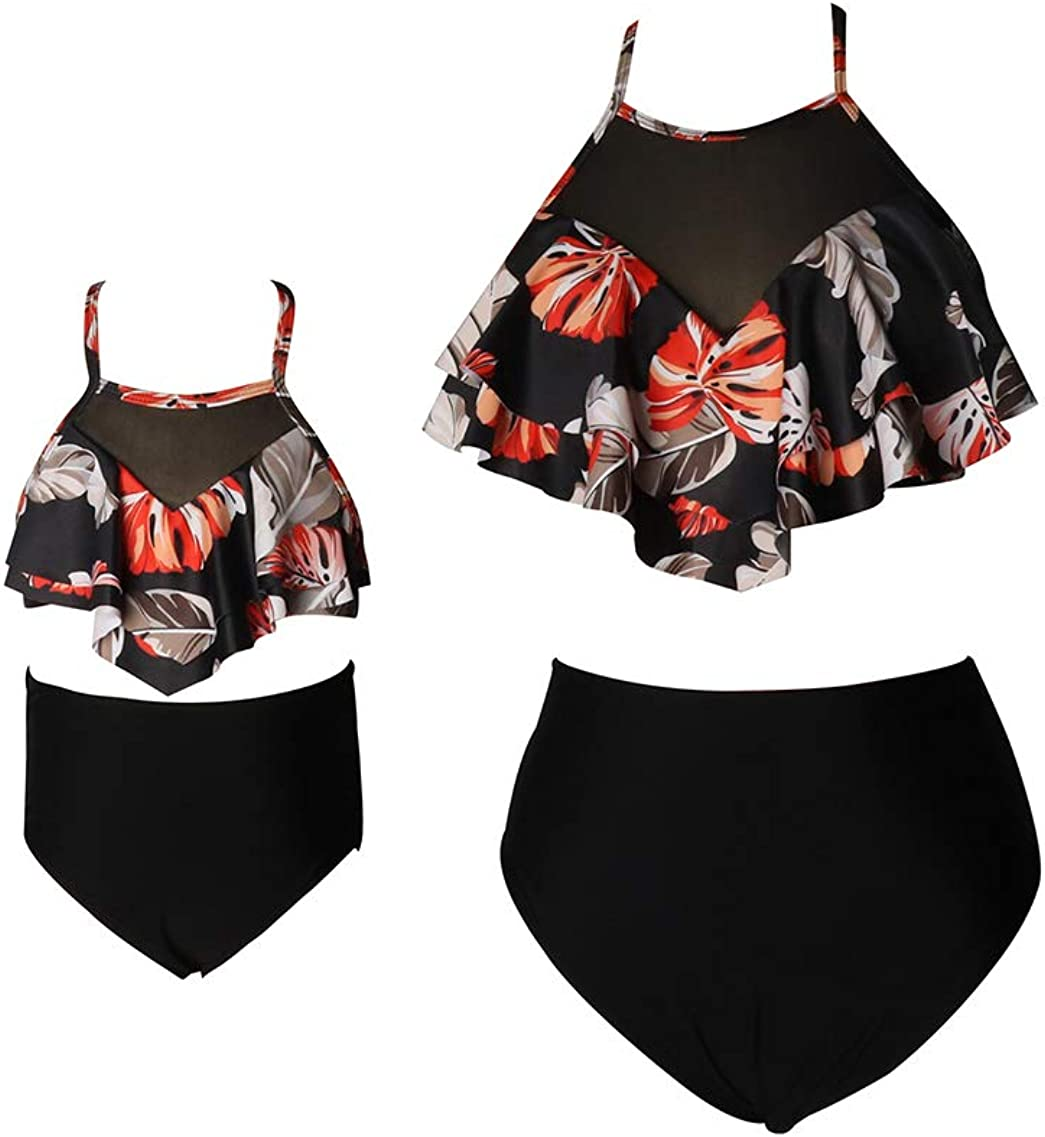 YMING Matching Mom and Daughter Swimsuits Two Piece High Waist Bikini Sets