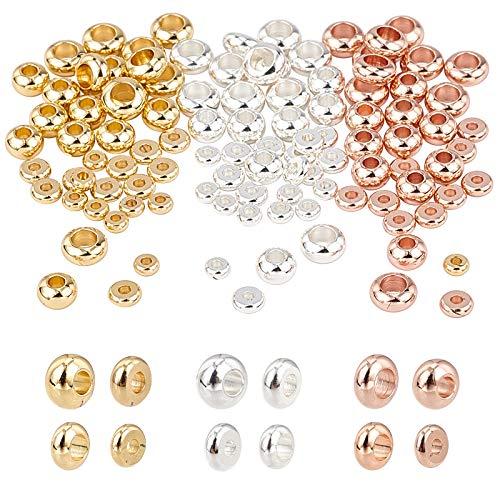 PandaHall 120pcs 4 Dimensioni Piatto Rotondo distanziatore Perline in Ottone rondelle Perline Gioielli distanziatori in Metallo per Braccialetto Collana creazione di Gioielli (3 Colori)