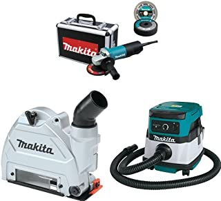 Makita 9557PBX1 4-1/2-Inch Angle Grinder w/ Case, Diamond Blade, 5 Grinding Wheels, Wheel Guards, 196846-1 Tuck Point Guard, & XCV04Z 18V X2 LXT (36V) 2.1 Gallon HEPA Filter Dry Dust Extractor/Vacuum