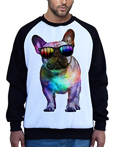 Galaxy Rave French Bulldog Tee B676 Men's PLY Raglan Baseball Sweatshirt Small