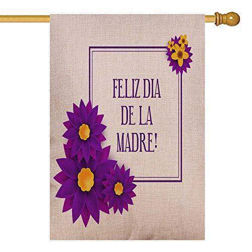 Capsceoll Easter Garden Flag 28X40 Inch Double Sized Seasonal Burlap Outdoor Decorative Flags De Happy Day in Spanish Language Handwritten Greeting Card Festive Poster Calligraphy Quote Elegant