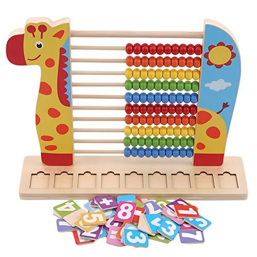 unknow Figutsga Hölzerner Abakus, der Zahlrahmen-Mathematik-Hilfsmittel-Lernspielzeug für Kinderkinder zählt,Giraffe,Als Beschreibung