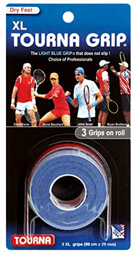 Tourna Grip XL Original Dry Feel Tennis Grip TG-1-XL Blue, 3 grips on roll, (99 cm x 29 mm)