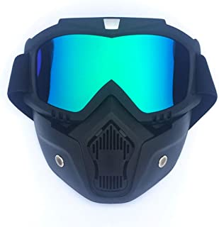 Coromose Mask Goggles Men/Women Retro Outdoor Cycling Mask Goggles Snow Sports Skiing Full Face Mask Glasses Vertical Black Frame + Colorful Lens