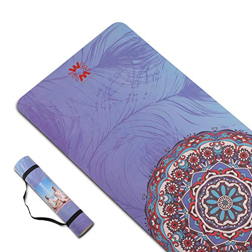 PIDO Yoga Mat 7mm Thick and Long Printed Suede + TPE Fitness Mat Gym 72'X24' Non-Slip Dance Mat (C)