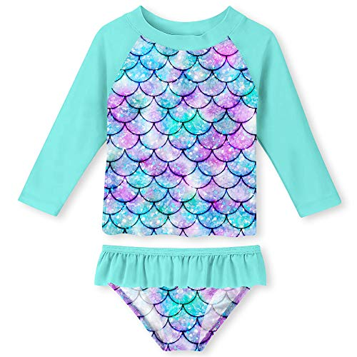 UNIFACO Toddler Girls Rashguard Set Long Sleeve 3D Fish Scale Casual Beach Swimsuit Tankini with UPF 50+ Sun Protection