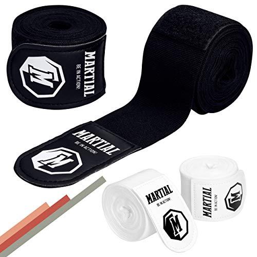 Boxbandagen von Martial mit bestem Klett und Daumenschlaufe. Bandagen ohne Ausleiern für MMA, Boxen, Kickboxen & Sparring! Handgelenkbandage schwarz, optimale Schweißaufnahme und Beutel!