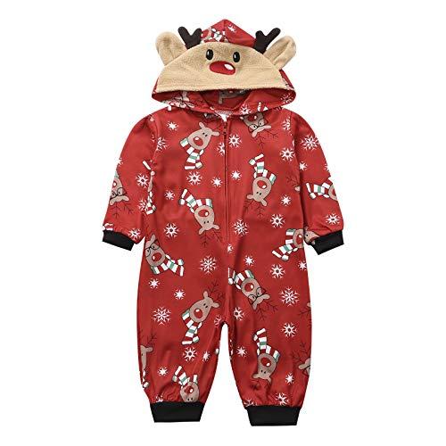 Livingsenburg Familie Weihnachten Kapuzenpullover Overall Pyjamas Nachtwäsche Hirsch Langarm Sweatshirt Bodys Kleidung (2Jahre, Rot-Kinder)