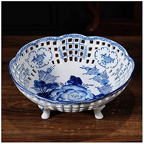 ZCRR - Ciotole per frutta in ceramica bianca e blu, stile cinese creativo, per casa, soggiorno, ufficio, frutta, cestino per frutta (colore: grande)