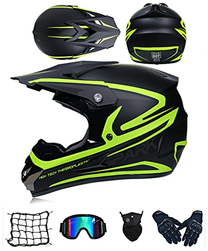 Casco da Motocross Set, Casco da downhill integrale MTB, Certificato D.O.T casco da cross Bambino E Ragazzi, Casco enduro per Quad Bike ATV Go-kart Moto da Cross Sport (A5,M (57-58 cm))