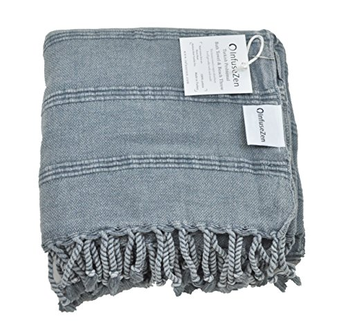 InfuseZen Stonewashed Turkish Towel, Thin Absorbent Bath Towel, Beach Towel and Pool Towel, Large Cotton Stone Washed Peshtemal Towels Weaved in Turkey, Hammam Spa Towels (Denim)