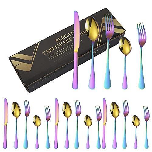 OUDEING Cutlery Set,Conjunto de Cubiertos de Acero Inoxidable de 24 Piezas, Conjunto de Cubiertos de bistec, Cuchara de Tenedor de Cuchillo, Servicio para 4-Arco Iris 25pcs