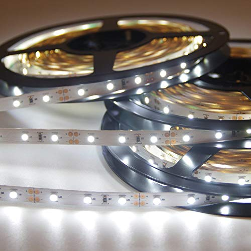 Signcomplex Nastro flessibile LED 3528 SMD LED nastro con nastro adesivo 3M 5m bobina 12V DC (bianco)