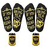 UMIPUBO Calcetines Divertidos Calcetines Cortos Personalizados con Letras Impreso If You Can Read This,Bring Me A Beer''Calcetines de Hombres Mujeres (Negro+Negro, talla única)