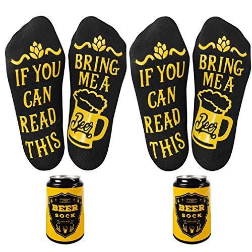 UMIPUBO Calcetines Divertidos Calcetines Cortos Personalizados con Letras Impreso If You Can Read This,Bring Me A Beer