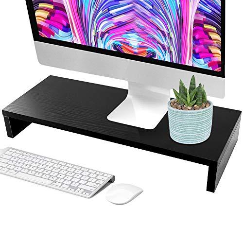 Yosoo Wooden Stand LED LCD Computer Monitor Riser Desktop Organizer Display Bracket Rack (Black)