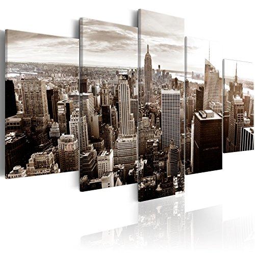 murando Cuadro en Lienzo Abstracto Nueva York 200x100 cm Impresión de 5 Piezas Material Tejido no Tejido Impresión Artística Imagen Gráfica Decoracion de Pared New York NYC Ciudad d-B-0189-b-p