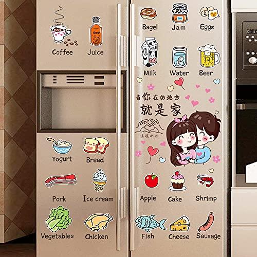 DSSJ Simpatico Cartone Animato Frigorifero Adesivo per Porta Singola Rimodella Film ricondizionato Cibo Cucina Adesivo Decorativo Creativo 3D Tridimensionale