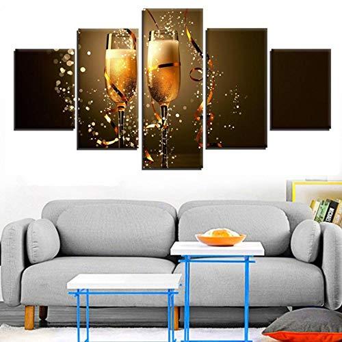 INFANDW Wandkunst Leinwand Weihnachts-Champagner Leinwanddrucke 5 Panels Gemälde Artwork Muster 150x80cm Poster Drucke Auf Leinwand Modern Für Kinderzimmer Home Decor (Kein Rahmen)