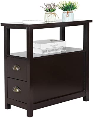 Brown End Table with 2 Drawer and Shelf Narrow Nightstand for Living Room