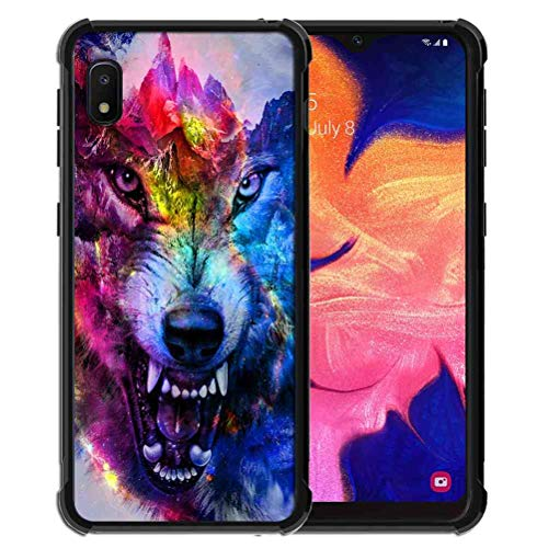 for Samsung Galaxy A10E Case Space Galaxy Nebula Wolf Pattern, ABLOOMBOX Shock Soft Bumper Slim Rubber Pro Maxtective Case with Reinforced for Galaxy A10e Case