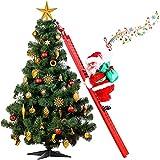 Electric Climbing Santa Claus Christmas Creative Decor with Music and LED Light Climbing Santa Plush Doll Toy Climbing Singing Santa Claus for Xmas Indoor Outdoor Decor (Ladder, 2.29 feet)
