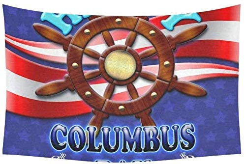 Yuanmeiju Tapiz Happy Columbus Day Wood Rudder 3 D Tapestries Wall Hanging Flower Psychedelic Tapiz Wall Hanging Indian Dorm Decor For Living Room Bedroom 60 X 40 Inch