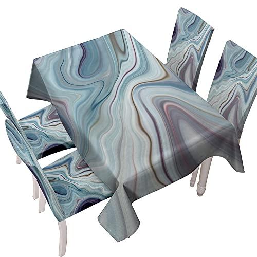 Mantel Mesita Salon,Mantel Limpiable Rectangular Mantel Impermeable Elegante Patrón De Marmoleado Manta De Mantel Resistente Al Calor para Fiesta De Navidad Picnic BBQ, 140X160Cm (55.1X62.9Inch)