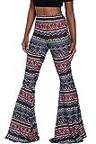 Herose Ladies Summer Tribal Patterns Print Floor Length Flares Leggings M Navy Blue