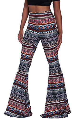 Womens 2017 Fall Classic Full Printing Retro Bell Bottom Trousers Pants L Navy Blue