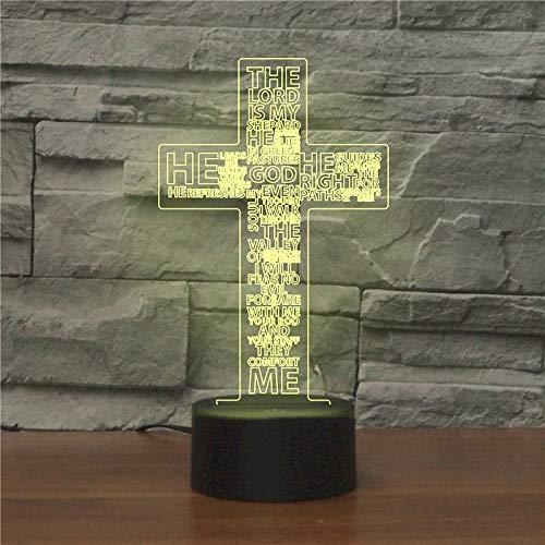 3D-Tischlampe mit Kreuz-Jesus-Motiv, 7 Farbwechsel-Lichter mit Acryl, flacher ABS-Sockel, USB-Ladegerät für Weihnachtsgeschenk