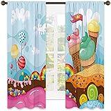 Cortina aislada para decoración de helado, postre con caramelos de arco iris, árboles de piruleta, magdalenas, montañas, sombra insonorizada, 120 x 163 cm, multicolor