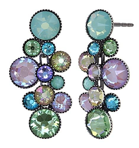 Ohrring KONPLOTT - WATER CASCADE   exklusiver Designer Modeschmuck   Ohrhänger mit Glitzer-Steinen   Ohrschmuck für Damen und Mädchen   Schönes Geschenk