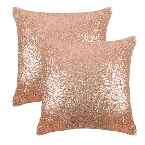 PONY DANCE Sequin Pillow Covers - Sparkling Comfy Satin Solid Sequin Fabric Throw Cushion...