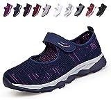 [JIAFO] 安全靴レディース スニーカー 介護シューズ 高齢者シューズ マジックテープ 通気性 柔軟性 軽量 メッシュ 中高齢者靴 ママシューズ 疲れにくい 滑り止めお母さん 婦人靴 看護師(22.5cm~26.0cm) (24.5cm, ブルー A)