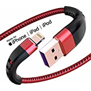 Apple MFi Certified 3 Pack iPhone Charger 1ft, Short Lightning Cable Strong Nylon Braided Charging Cable 1 Foot, Fast iPhone USB Cord for Apple iPhone11/ X/XS/XR/8/7/6/5S/SE/iPad Mini Air(Red)