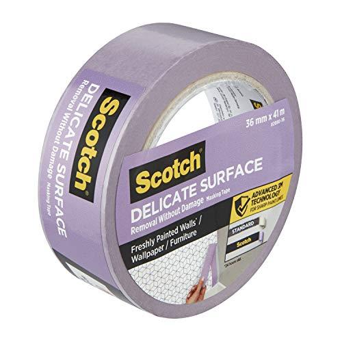 Scotch Advanced Masking Tape 2080 UK Verstärktes Abklebeband für frisch gestrichene Wände, Tapeten oder Möbel, violett, 36 mm