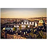 XZRDP República Checa Ciudad de Praga Arte Pintura Cartel impresión Personalizada Lienzo Imágenes de Pared Sala de Estar Decoración del hogar -24x36 IN Sin Marco
